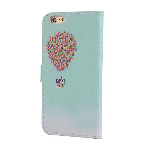 Für Apple iPhone 6 (4.7 Zoll) Tasche ZeWoo® Ledertasche Strass Hülle PU Leder Schutzhülle Glitzer Case Cover - XX023 / fliegenden Haus