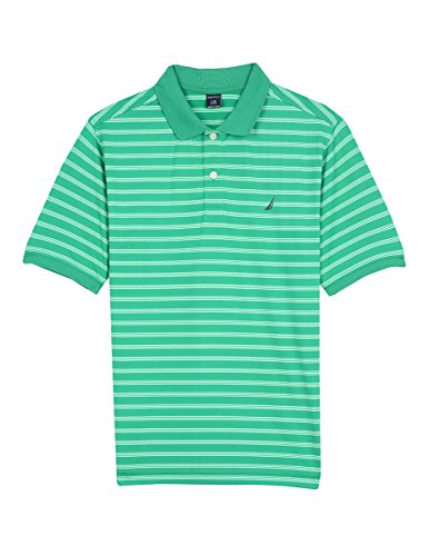 Green Striped Polo Shirt - Nautica Big Boys' Short Sleeve Striped Performance Polo Shirt, Shore Golf Green, Small (8)