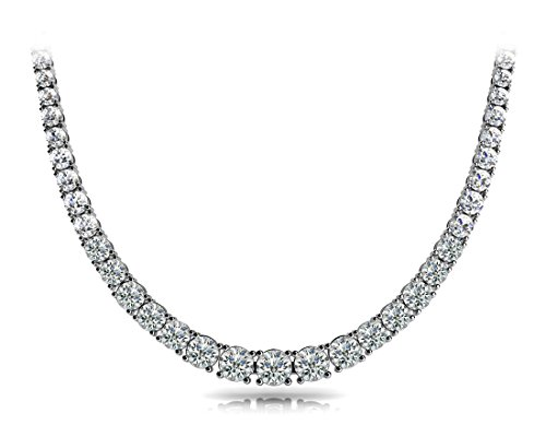 11.00 ct Ladies Graduated Round Cut 4 Prong Diamond Necklace