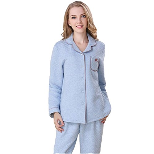 Sunshine Fashion Simple Autumn and Winter Cotton Interlayer Warmly Pajamas bedgown Long Sleeved Nightgown Sleepwear Set by Sunshine (Image #1)