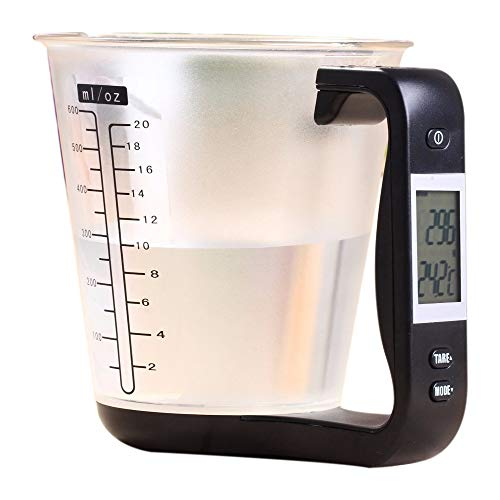 TOOGOO Measuring Cup Kitchen Scales Digital Beaker Libra Electronic Tool Scale With Lcd Display Temperature Black & Transparent