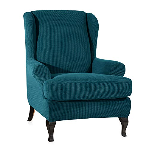 CHUN YI 2-Piece Stretch Jacquard Spandex Fabric Wing Back Wingback Armchair Chair Slipcovers (Teal, Wing Chair) (Teal Accent Pieces)
