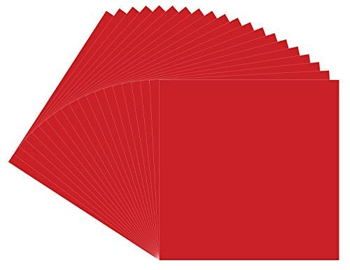 """Permanent Red Oracal 651 Vinyl, 20 Pack 12""""x12"""" Red Permanent Adhesive Backed Vinyl Sheets, for Indoor/Outdoor Marking, Lettering, Decorating, Signs, Decals, Window Graphics for Cricut,Silhouette ()"""