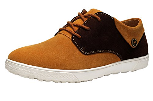Guciheaven Mens 2015 New British Style Suede Low Top Lace-up Casual Flats Shoes(10 D(M)US, Tan)