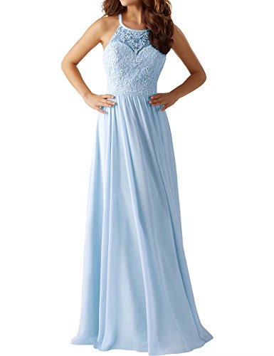 Cross Appliques Prom With Gown Back Dress Blue Light Lace AiniDress Cocktail Halter Evening Women's Long 818ZnS