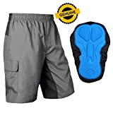 Baleaf Men's Mountain Bike Shorts 3D Padded MTB Cycling Tight Quick Dry Grey Black Size L