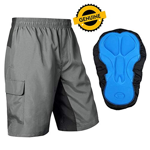 - Baleaf Men's Mountain Bike Shorts 3D Padded MTB Cycling Tight Quick Dry Grey Black Size L