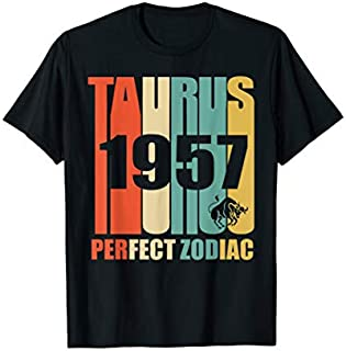 Vintage Taurus 1957  Retro Zodiac 62nd Birthday Gift T-shirt | Size S - 5XL