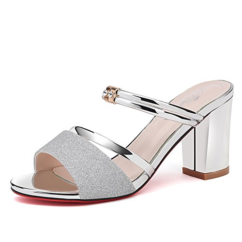 Heels Silver Slippers and Thick Casual with Sandals Shoes Women Fashion Woman High ZCJB Roman OwxtqZa1F