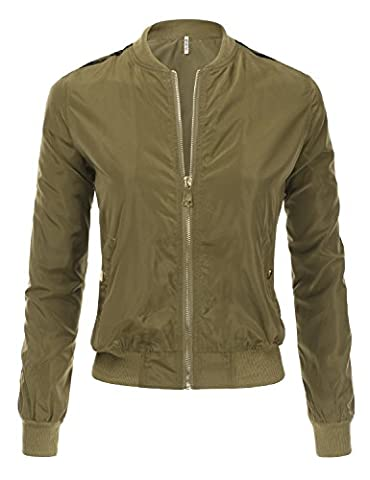 DRESSIS Women's Lightweight Bomber Jacket OLIVE L (Fitted Jacket Juniors)