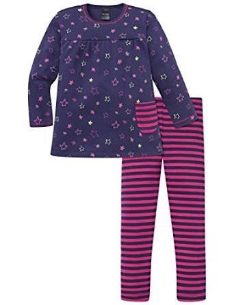 Schiesser Mädchen Schlafanzug lang 154172, dunkelblau, 140