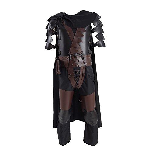 Guts Halloween Cosplay Costumes Black Long PU Leather Jacket Full Set for Men (Large, Black)]()