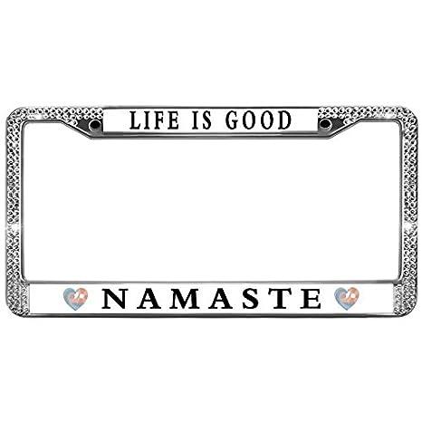 Black License Plate Frame NAMASTE Auto Accessory