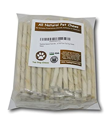Rawhide Natural Twist Sticks -Pack Of 100 From Top Dog Chews - Regular by Top Dog Chews