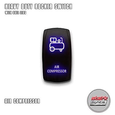 AIR COMPRESSOR V.2 - Blue - STARK 5-PIN Laser Etched LED Rocker Switch Dual Light - 20A 12V ON/OFF: Automotive