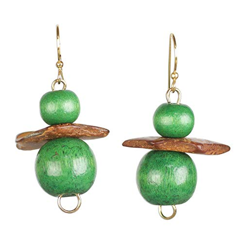 NOVICA Coconut Shell and Wood Beaded Earrings, Lush Grass