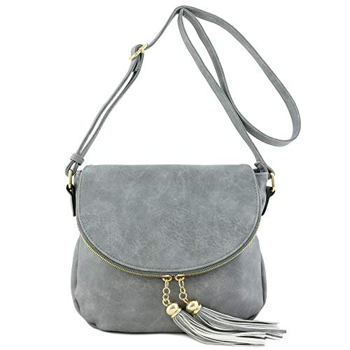 Tassel Accent Crossbody Bag with Flap Top - Small Flap Bag