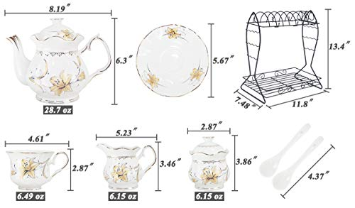 Porcelain Ceramic Coffee Tea Sets 21 pieces with Metal Holder,Cups and Saucers Sets and Spoons for 6,with Teapot Sugar Bowl Cream Pitcher by CHP (Image #5)