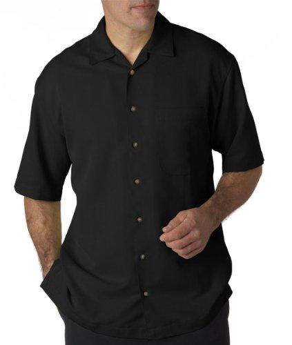 UltraClub Men's Microfiber Cabana Sand Washed Camp Shirt, X Large, Black
