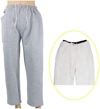 寝たきりの老人のためのポケット、尿道カテーテル看護外出パンツを備えた失禁ケア暖かいズボン,Gray1pocket,L