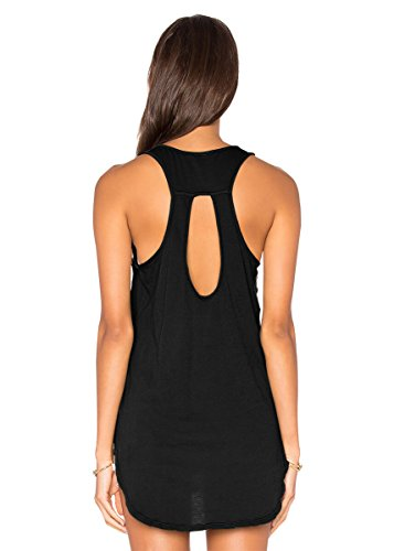 Yucharmyi Women's Sexy Sleeveless Blouse Casual Loose Womens Shirts Summer Tops Backless Tunic Knit Tank Tops Stretchy Workout Shirts Fitness Sports Racerback Tank Tops (Black, (Racerback Tunic Top)