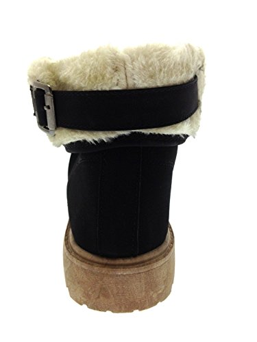 Lora Dora Womens Faux Fur Lined Ankle Boots Black/Cream petolIhoTP