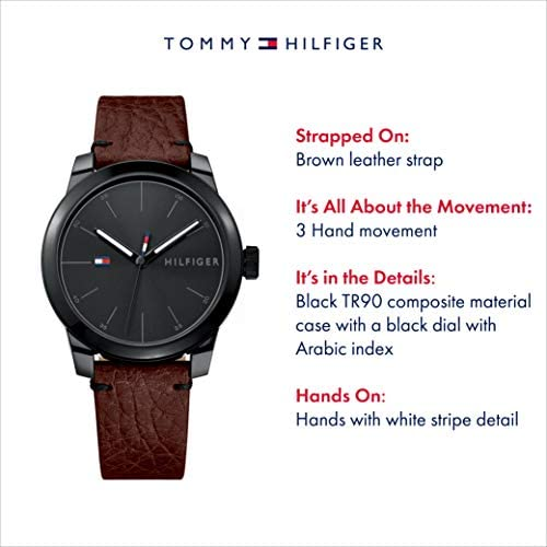 Tommy Hilfiger Men's Quartz Watch with Leather Calfskin Strap, Brown, 20 (Model: 1791383)