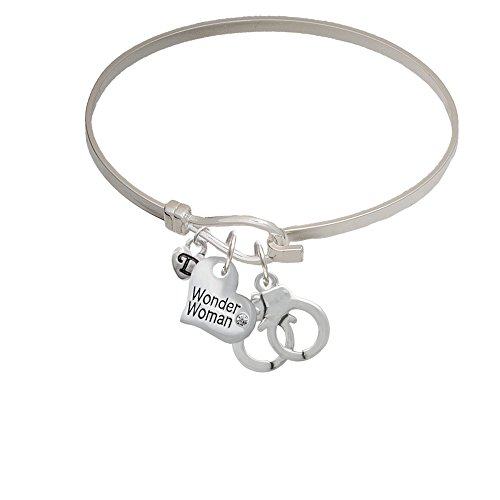 Handcuffs Wonder Woman Heart Latch Bangle Bracelet (Wonder Woman Cuff Bracelet)
