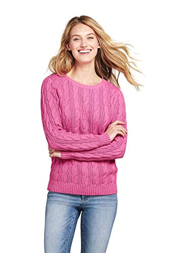 - Lands' End Women's Drifter Cotton Cable Knit Sweater Crewneck, M, Berry Pink Heather