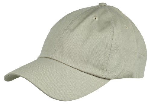 tured Cotton Cap Adjustable Plain Hat, Khaki (Khaki Unstructured Adjustable Cap)