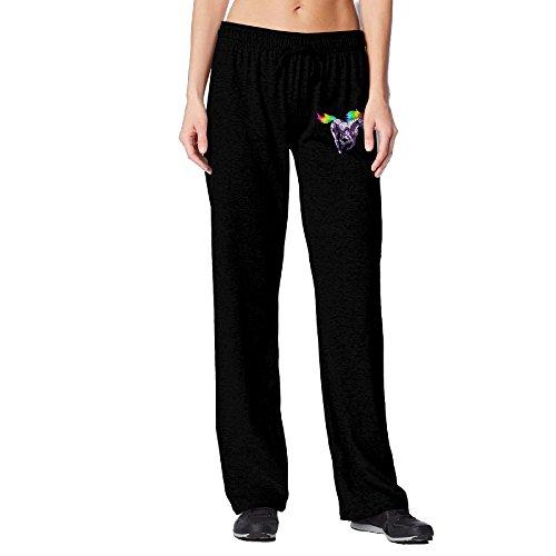 BakeOnion Women's Rainbow Unicorn Performance Workout Pants M Black -