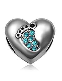 JMQJewelry Heart Love Baby Footprints Jan-Dec Crystal Charms Beads for Bracelets