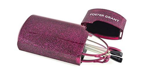 Foster Grant Women's Gideon Glimmer 1017256-200.COM Rectangular Readers, Magenta, - Fold Up Glasses