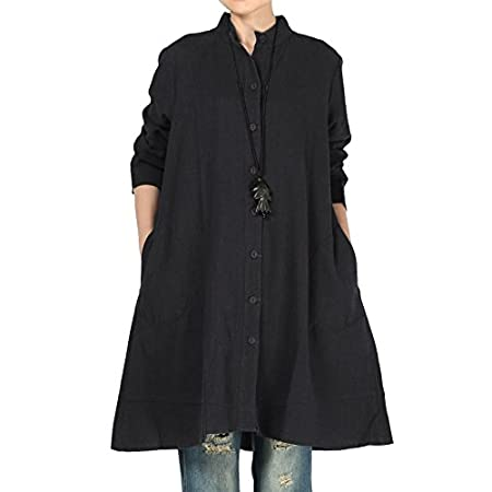 Vogstyle Women's Autumn Cotton Linen Full Front Buttons Shirt Dress with Pockets 41plRR9LOQL
