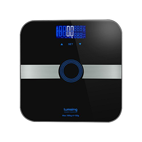 Lumsing Körperfettwaage Smart-Digital-Körpergewicht-Monitor Digitale Personenwaage High Precision 400 lbs Kapazität Maße Gewicht, Körperfett, BMI, Wasser, Muskel- und Knochenmasse Schwarz