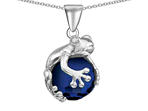 Star K Frog Pendant Necklace with 10mm Simulated Dark Sapphire (Frog Necklace)