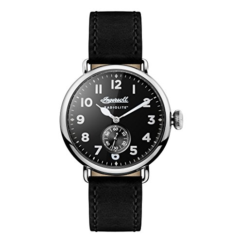 Ingersoll Men's Quartz Stainless Steel and Leather Casual Watch, Color:Black (Model: I03201)