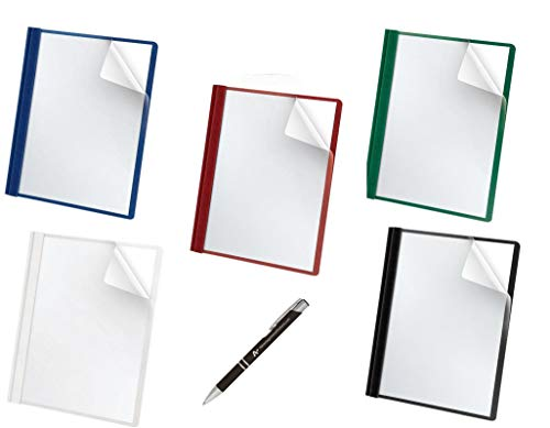 Oxford Premium Clear Front Report Covers, Letter Size, Assorted, 5 Per Pack (588series) Black, Blue, Green, Red and White with Custom Advantage Black and Chrome ()