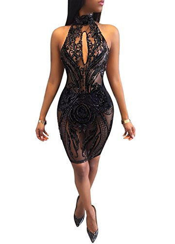 - Acelyn Women's Sexy Halter Backless See Through Sequins Floral Club Bodycon Mini Dress Large Black