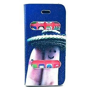MOFY-Patr—n Sonrisa Finger PU Leather Case cuerpo completo con soporte para iPhone 5/5S