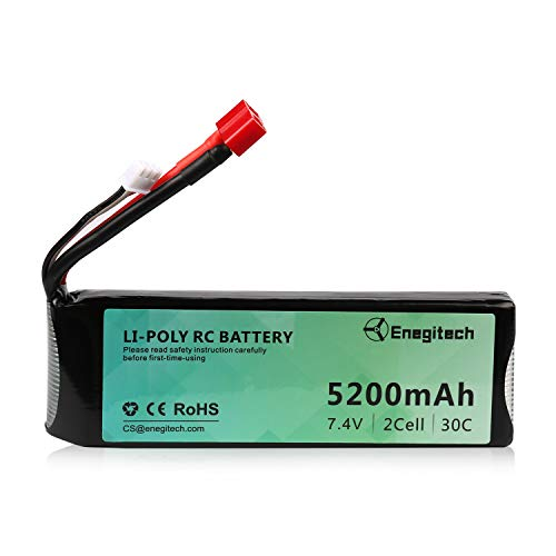 7.4V 30C 5200mAh 2S Lipo Battery, Batteriol RC Battery with Deans-T Plug for RC Car Truck Airplane Helicopter FPV Boat Drone Crawlers RC Vehicles