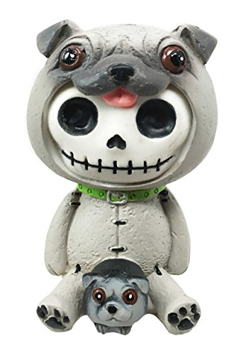 Ebros Furry Bones Pugsley The Adorable Pug Skeleton Figurine 2.5