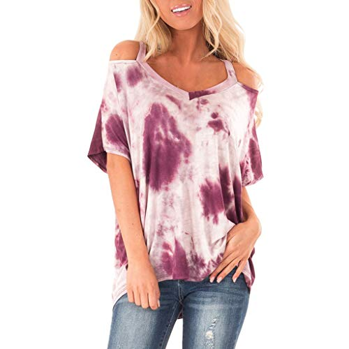 aihihe Women Summer Casual Short Sleeve V Neck Strappy Cold Shoulder T-Shirt Tops Blouses (Hot Pink,M)