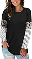 LAISHEN Women's Leopard Print Patchwork Color Block Tunic Round Neck Long Sleeve T Shirts Striped Causal Blouses Tops