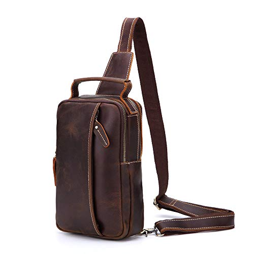 Shoulder Bags Cycling Bag Chest Aihifly Portable Messenger Travel Men Brown Genuine Crossbody color Brown For Leather Movement 0YqqRS