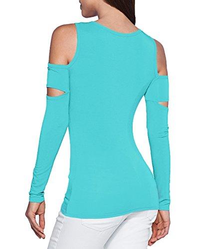 Boutonné Haut T Tombantes Aj Fashion Femmes Épaules Vert Manche shirt Decolleté Découpe wSTT1IYq
