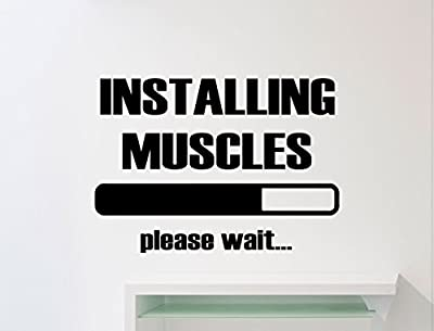 Gym Wall Decal Installing Muscles Please Wait Motivational Quote Fitness Vinyl Sticker Sport Motivation Gym Poster Art Decor Quote Inspirational Words Lettering CrossFit Workout Removable Mural 135gy
