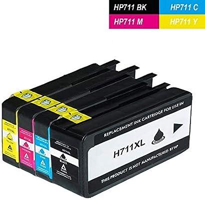 Cartucho de Tinta WonderTec Compatible HP 711 (CZ133A CZ130A CZ131A CZ132A) para HP Designjet T120 T520 CZ129A CZ130A (1 Negro, 1 Cian, 1 Magenta, 1 Amarillo): Amazon.es: Electrónica