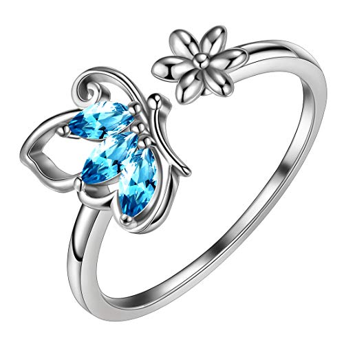 Aurora Tears Butterfly & Daisy Flower Ring Blue 925 Sterling Silver Women March-Birthstone Adjustable Rings Girls Crystal Cubic Zirconia Mar.-Aquamarine Butterflies Animal Jewelry DR0074B