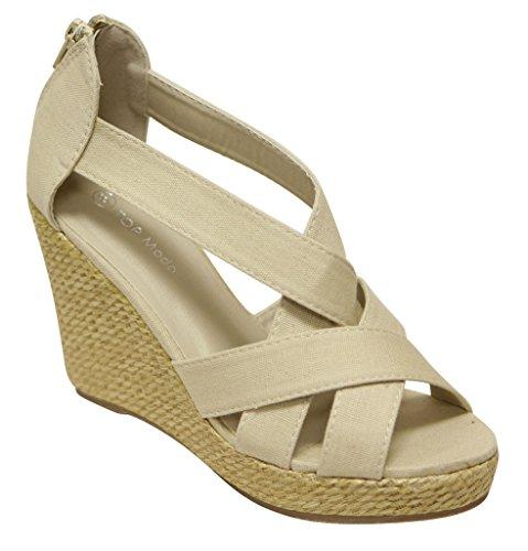 Top Moda 058-1 women's peep toe crossing espadrille platform wedge zip closure canvas sandals Beige 8.5 ()